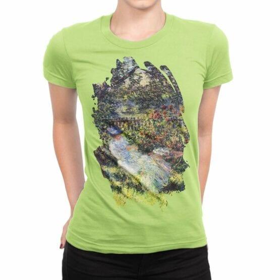 """Art T-Shirts """"Claude Monet. Alice in the Garden"""". Womens Shirts."""