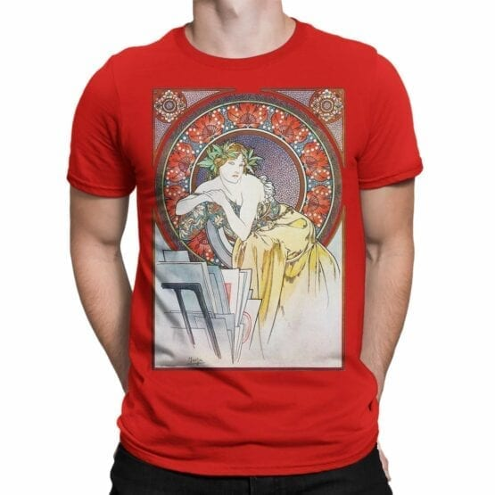 "Art T-Shirts ""Alphonse Mucha. Art Nouveau Muse"". Mens Shirts."
