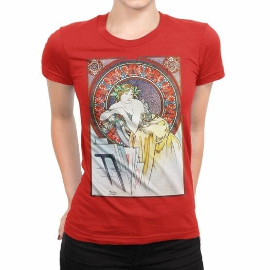 "Art T-Shirts ""Alphonse Mucha. Art Nouveau Muse"". Womens Shirts."