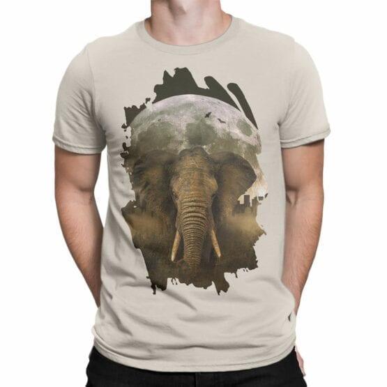 "Elephant T-Shirts ""Elephant and Moon"". Mens Shirts."