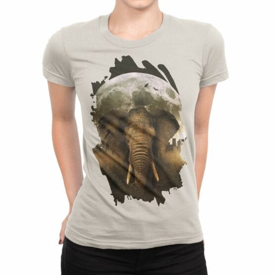 "Elephant T-Shirts ""Elephant and Moon"". Womens Shirts."