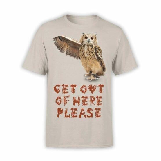 "Owl T-Shirt ""Get Out"". Mens Shirts."