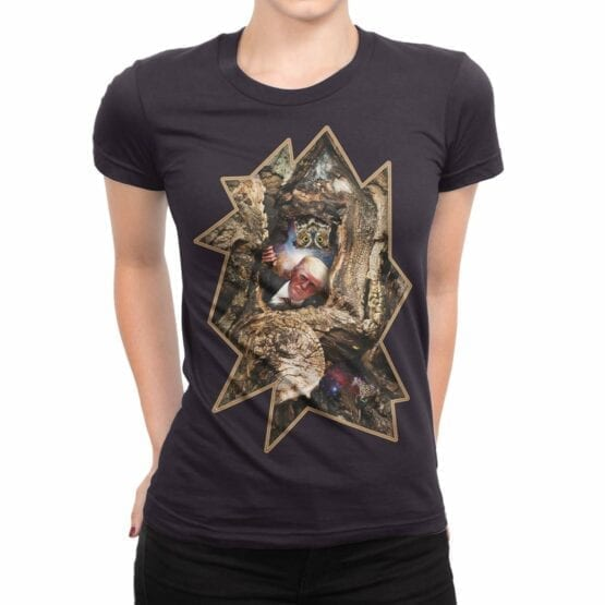"""Funny T-Shirts """"Trump and Owl"""". Womens Shirts."""