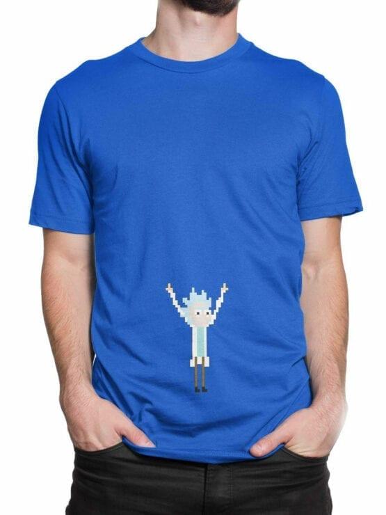 0123 Rick and Morty T Shirt Pixel Rick Front Man 2