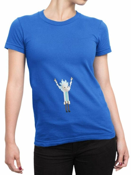 0123 Rick and Morty T Shirt Pixel Rick Front Woman