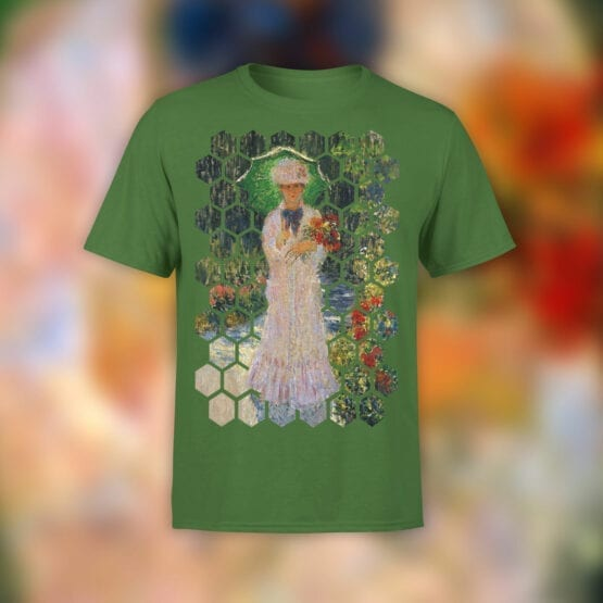 "Art T-Shirts ""Claude Monet. Camille with Green Parasol"". Claude Monet T-Shirts."