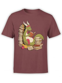 0560 Dragon T-Shirt Book Wyrm_Front Maroon