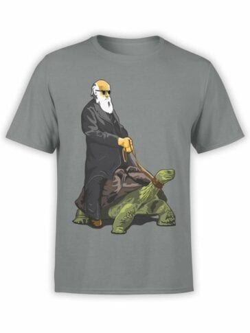 0589 Funny T-Shirt Darwin on the Turtle_Front Asphalt