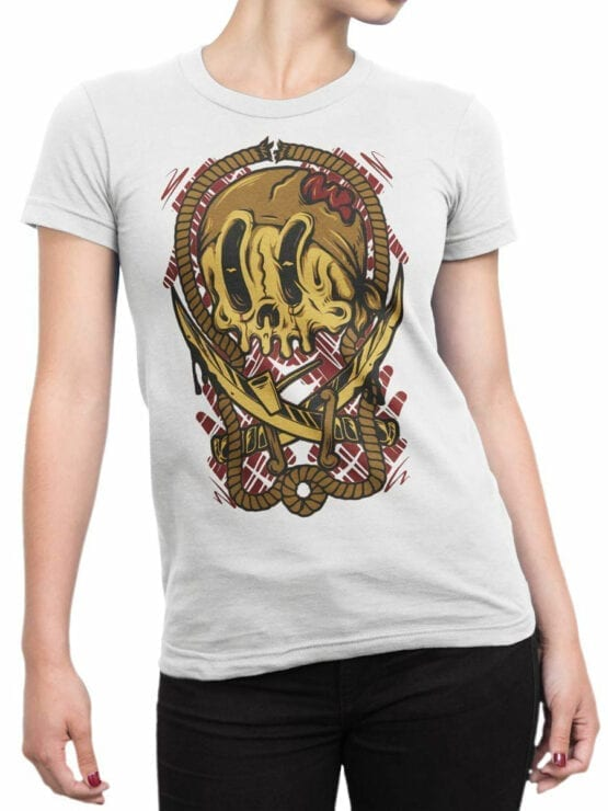 0658 Pirate Shirt Crossbones Front Woman