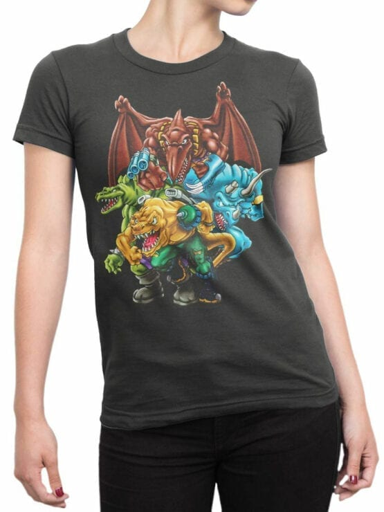 0663 Dinosaur T Shirt Extreme Front Woman