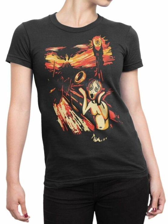 0664 Lord of the Rings Shirt Gollum Scream Front Woman
