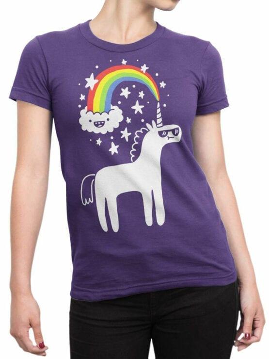 0668 Unicorn Shirt Unicorn Cloud Front Woman