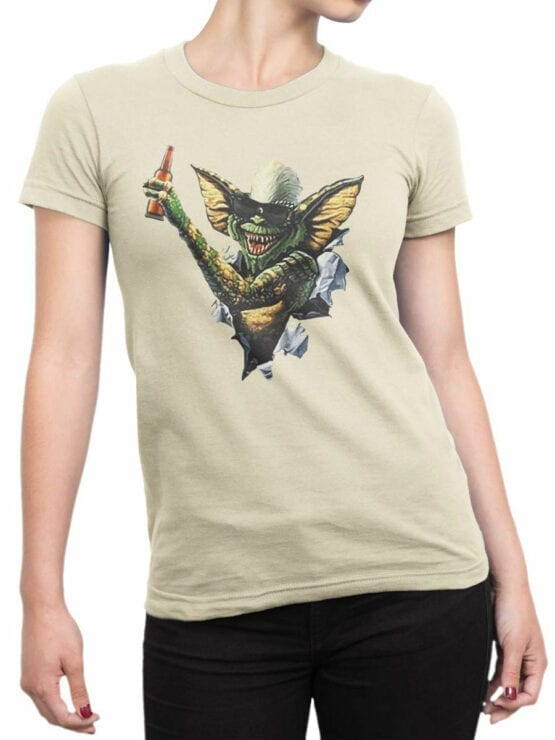 0675 Gremlin T Shirt Beer Front Woman