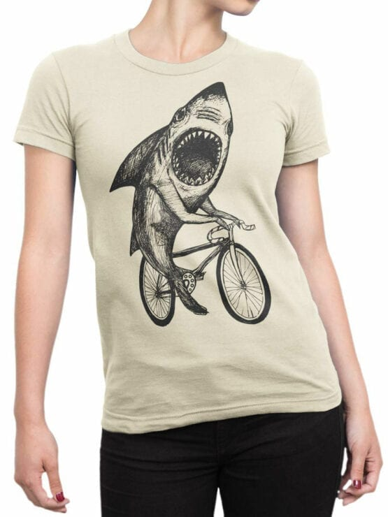 0686 Shark Shirt Bicycle Front Woman