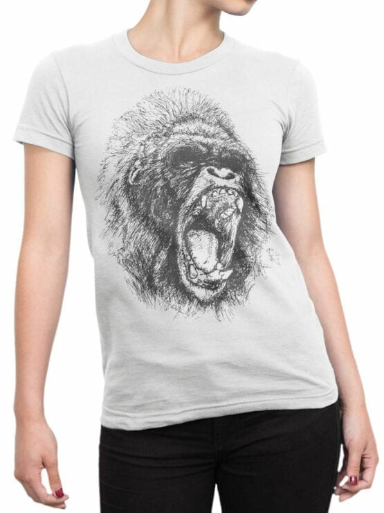 0698 Cool T Shirts Gorilla Front Woman