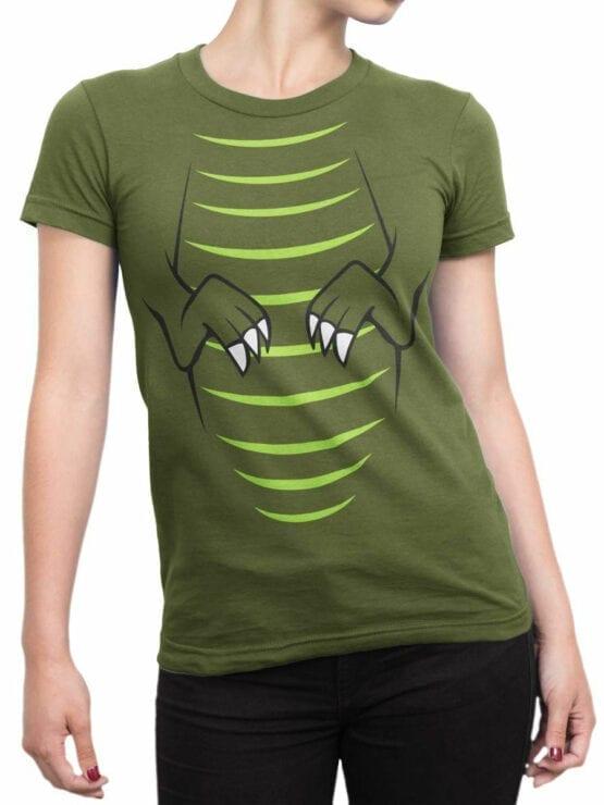 0723 Dinosaur T Shirt T Rex Front Woman
