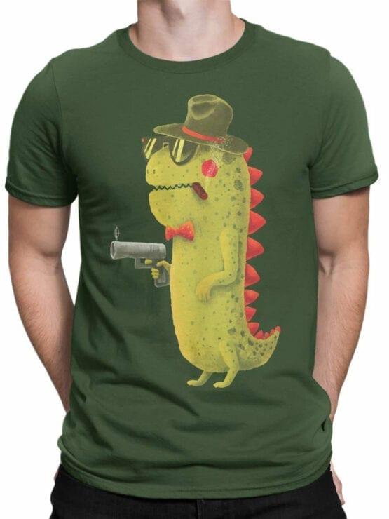 0741 Dinosaur T Shirt Gentleman Front Man