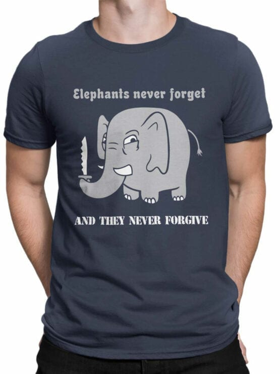 0746 Elephant Shirt Never Forget Front Man