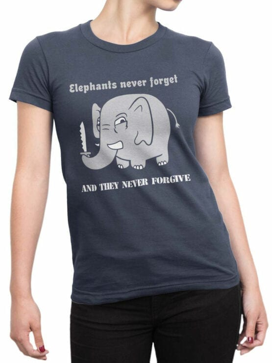 0746 Elephant Shirt Never Forget Front Woman