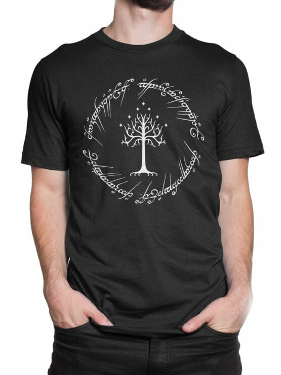 0749 Lord of the Rings Shirt White Tree of Gondor Front Man 2