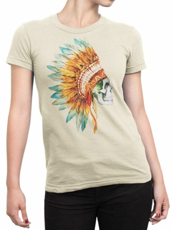 0804 Scull Shirt War Bonnet Front Woman