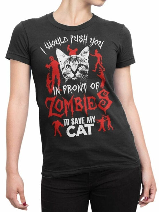 0808 Cat Shirts Zombies Front Woman
