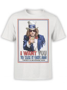 0810 Big Lebowski T Shirt Take it Easy Front