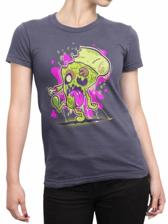 0850 Monster Shirt Zombie Pizza Front Woman