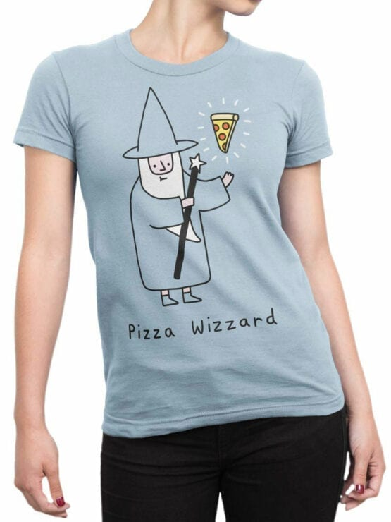 0852 Pizza Shirt Wizzard Front Woman
