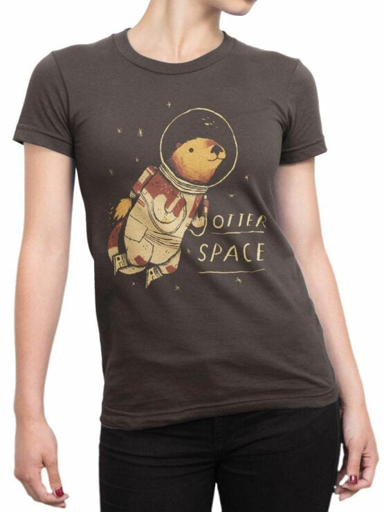 0868 NASA Shirt Otter Space Front Woman