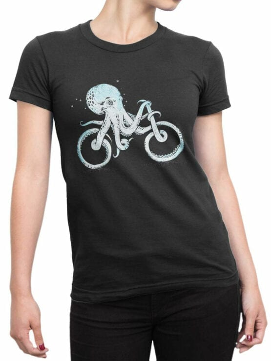 0873 Cool T Shirts Octocycle Front Woman