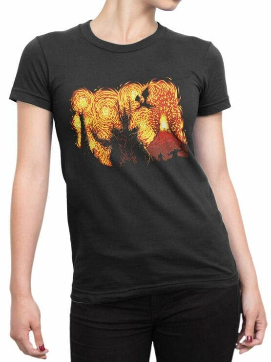 0882 Lord of the Rings Shirt Sauron Van Gogh Front Woman