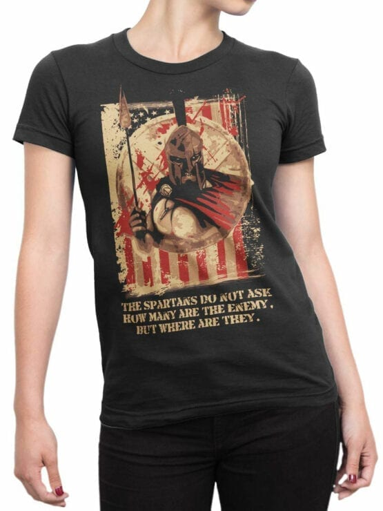 0884 Patriotic Shirts USA Spartans Front Woman