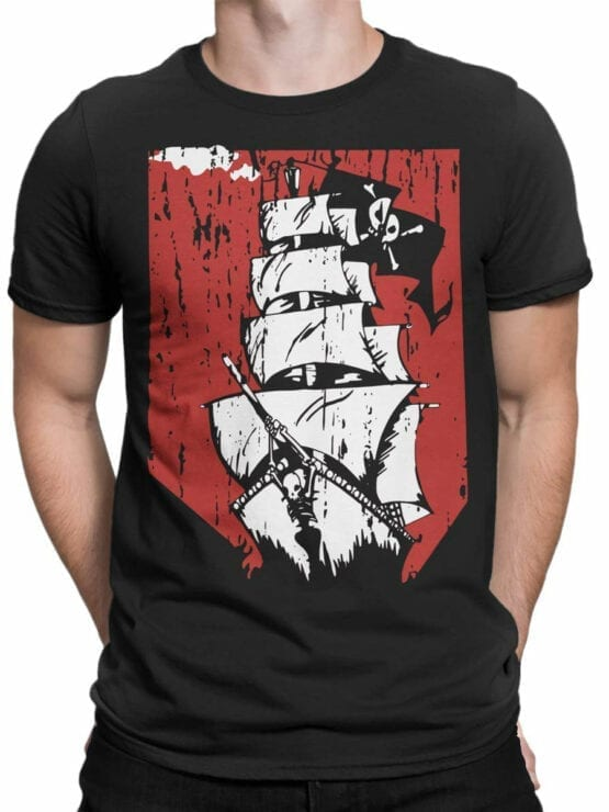 0889 Pirate Shirt Ship Front Man