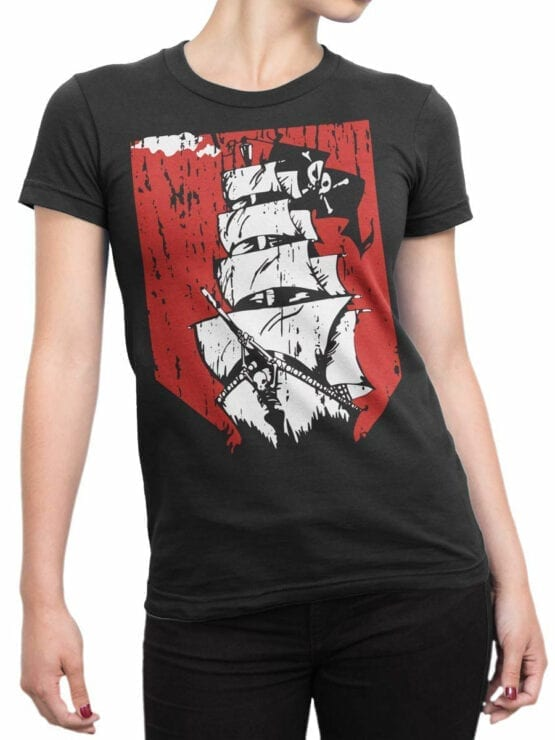 0889 Pirate Shirt Ship Front Woman