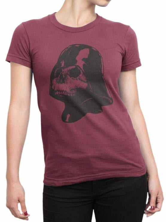 0892 Star Wars T Shirt Skull Vader Front Woman