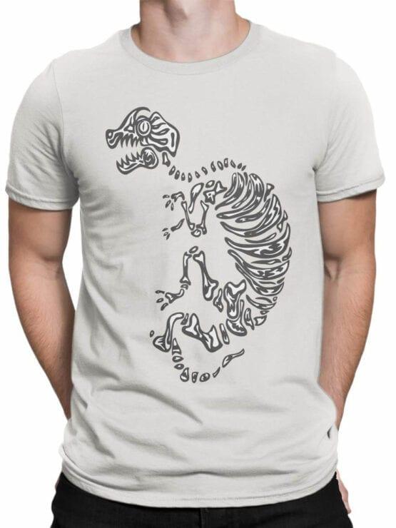 0935 Cool Shirt Dinosaur Skeleton Front Man