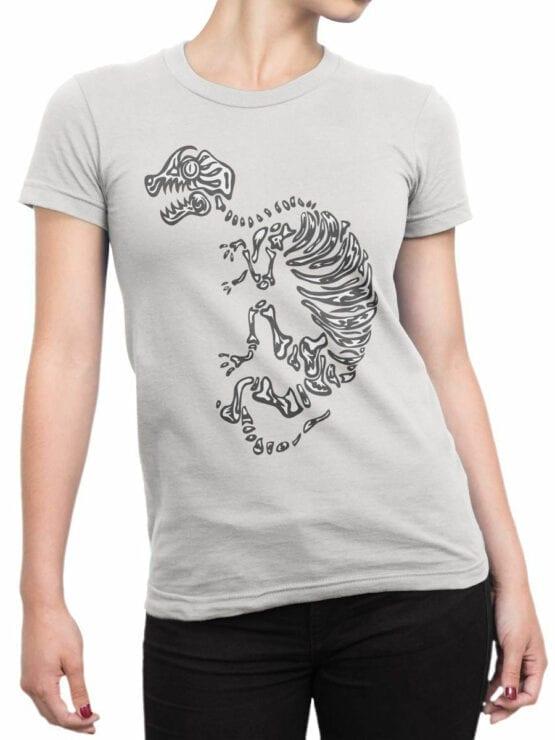 0935 Cool Shirt Dinosaur Skeleton Front Woman