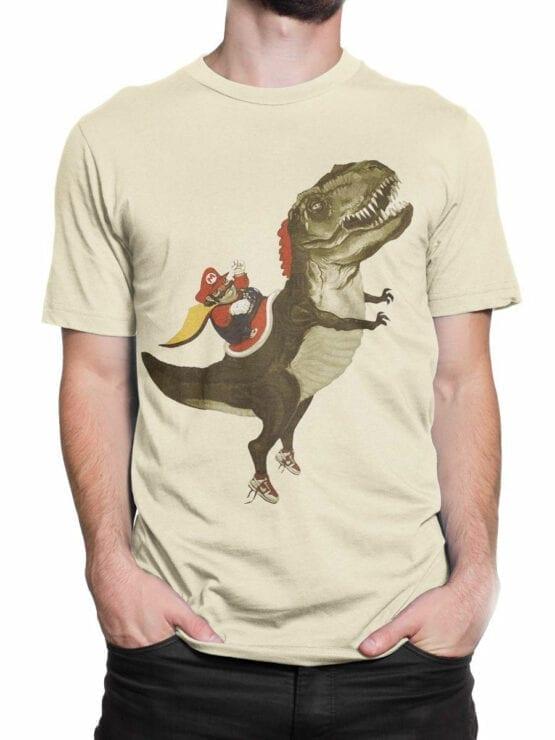 0957 Funny T Shirt Mario T Rex Front Man 2
