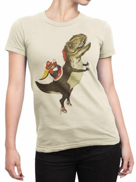 0957 Funny T Shirt Mario T Rex Front Woman