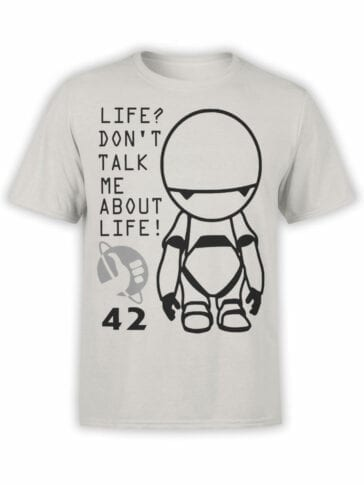 0958 The Hitchhikers Guide to the Galaxy Shirt Marvin 42 Front