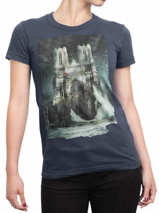 0964 Notre Dame T Shirt Flood Front Woman