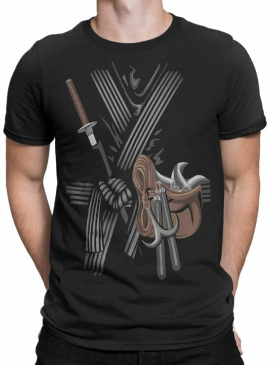 0973 Warrior T Shirt Ninja Front Man