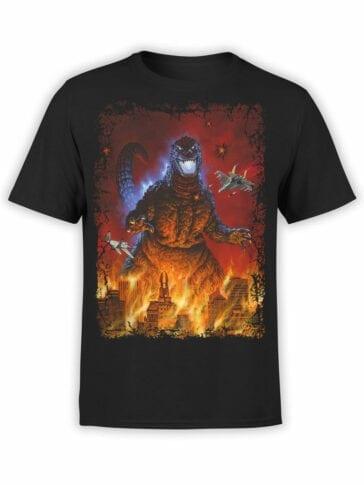 1004 Godzilla T Shirt Red Night Front