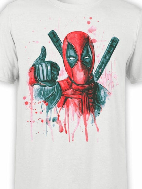 1007 Deadpool T Shirt Thumbs Up Front Color