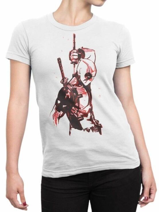 1017 Deadpool T Shirt Drawing Front Woman