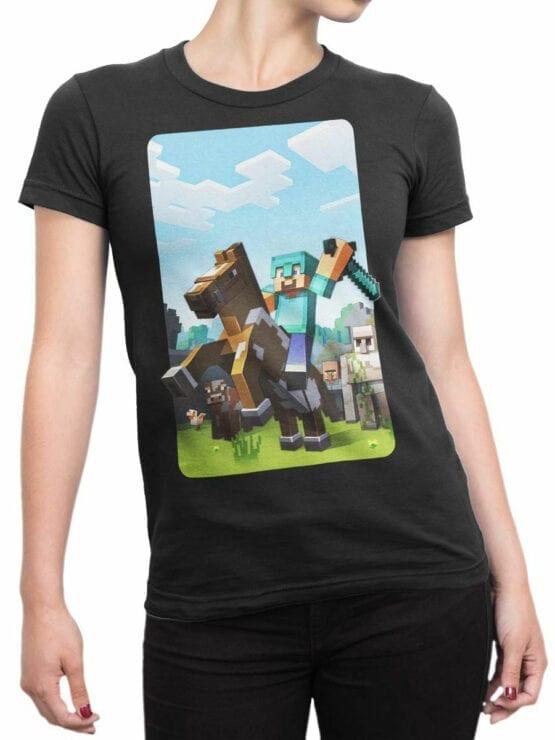 1018 Minecraft T Shirt Rider Front Woman