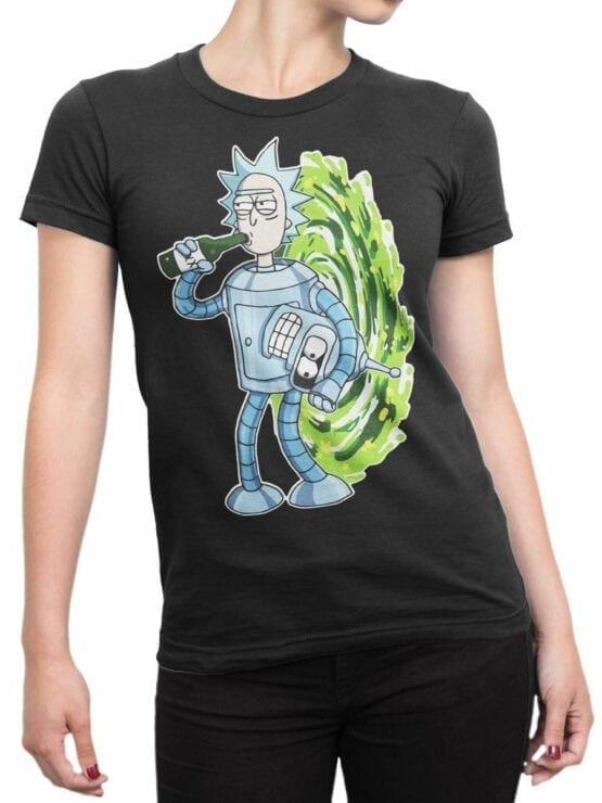 1022 Rick and Morty T Shirt Bender Rick Front Woman
