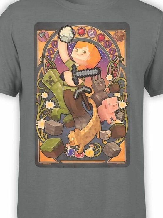 1028 Minecraft T Shirt Mucha Front Color