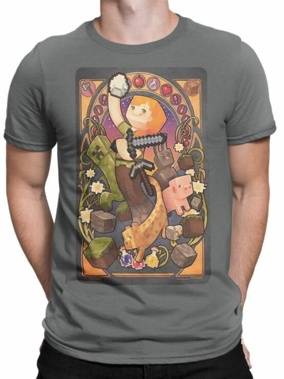 1028 Minecraft T Shirt Mucha Front Man
